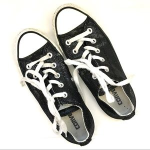 CONVERSE Shiny Black Sequin Chucks Size 6